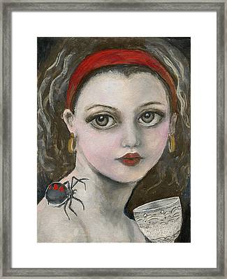 Little Miss Muffet  Framed Print by Annora Anne