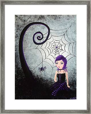 Framed Print featuring the painting Little Miss Muffet by Oddball Art Co by Lizzy Love
