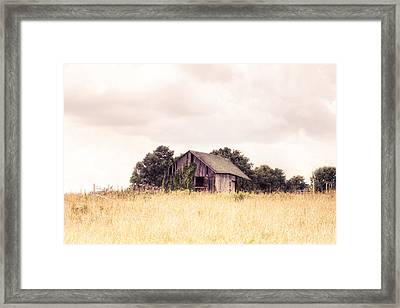 Framed Print featuring the photograph Little Old Barn In A Field - Landscape  by Gary Heller