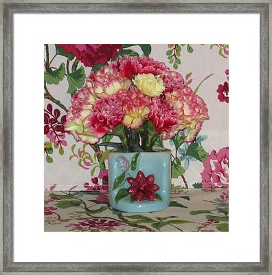 Little Old Vase And Carnations Framed Print by Good Taste Art