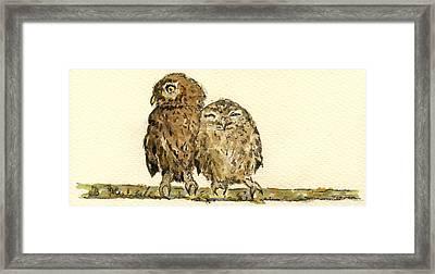 Little Owls Framed Print by Juan  Bosco