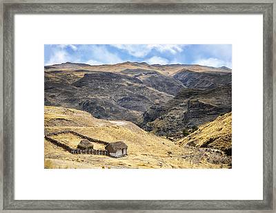 Little Peasant Hut In Mountains Framed Print
