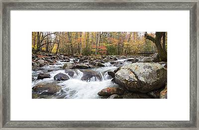 Little Pigeon River Bridge Panorama Framed Print