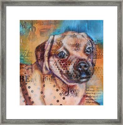Little Pug Framed Print by Susan Goh