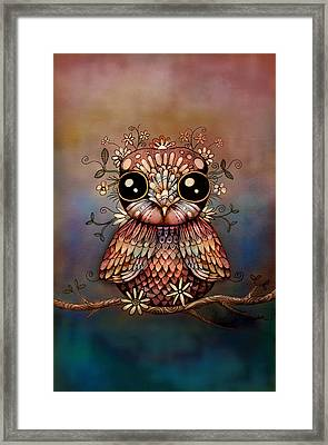 Little Rainbow Flower Owl Framed Print by Karin Taylor