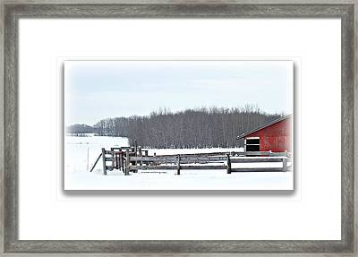 Little Red Barn Framed Print by Donna Brown