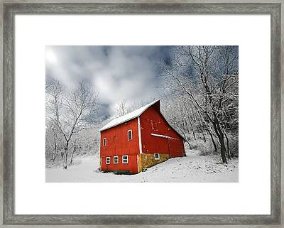 Little Red Barn Framed Print by Todd Klassy