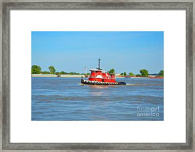 Little Red Boat On The Mighty Mississippi Framed Print