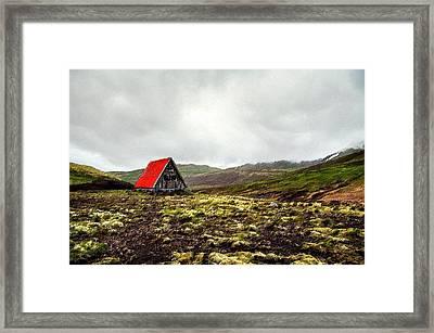 Little Red Cabin Framed Print by Florian Rodarte