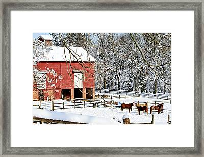 Little Red Farm In Snow Framed Print