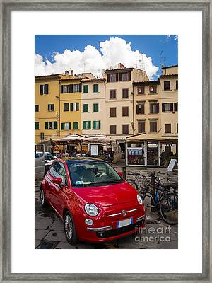 Little Red Fiat Framed Print by Inge Johnsson