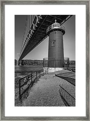 Little Red Ligthouse Under Great Grey Bridge Bw Framed Print