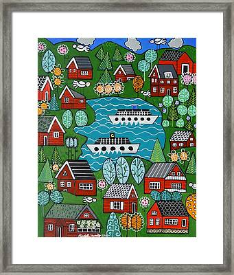 Little Red Norwegian Houses Framed Print