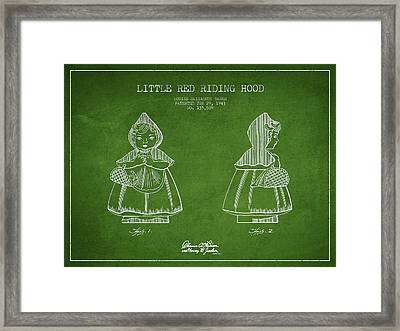 Little Red Riding Hood Patent Drawing From 1943 - Green Framed Print by Aged Pixel