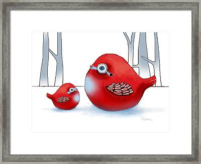 Little Red Robins Framed Print by Karin Taylor