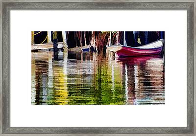 Framed Print featuring the photograph Little Red Row Boat by Pamela Blizzard