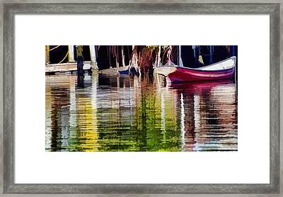 Little Red Row Boat Framed Print by Pamela Blizzard