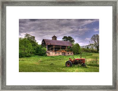 Little Red Tractor Framed Print by David Simons