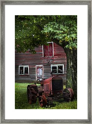 Little Red Tractor Framed Print by Debra and Dave Vanderlaan