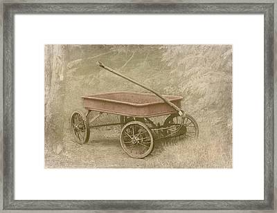 Little Red Wagon Framed Print by Angie Vogel