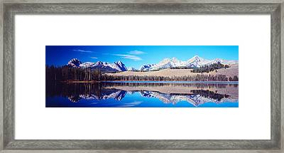 Little Redfish Lake Mountains Id Usa Framed Print by Panoramic Images