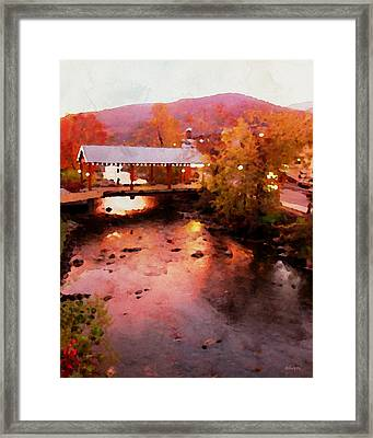 Little River Bridge At Sunset Gatlinburg Framed Print by Rebecca Korpita