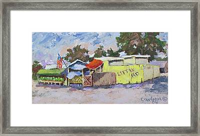 Little Road Farm Market Framed Print by Tony Caviston