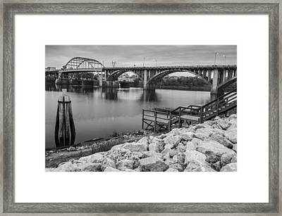 Little Rock Arkansas River Bridge Black And White Framed Print by Gregory Ballos