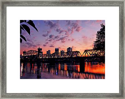 Framed Print featuring the photograph Little Rock Bridge Sunset by Mitchell R Grosky