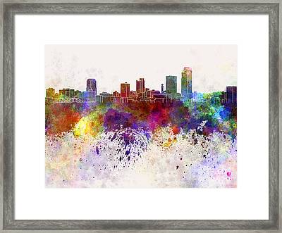 Little Rock Skyline In Watercolor Background Framed Print by Pablo Romero