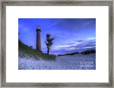 Little Sable Lighthouse In Evening Framed Print by Twenty Two North Photography