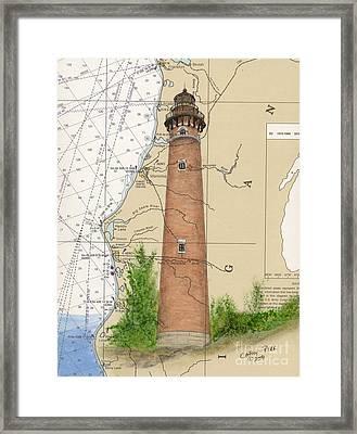 Little Sable Lighthouse Lake Mi Nautical Chart Map Art Cathy Peek Framed Print