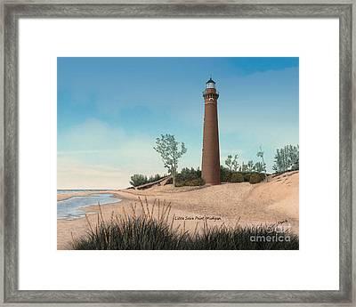 Little Sable Point Lighthouse Titled Framed Print