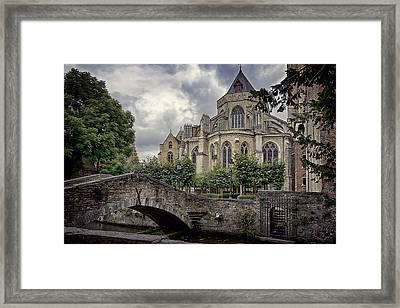 Little Stone Bridge By The Church Framed Print by Joan Carroll