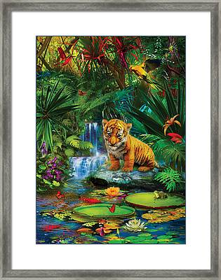 Framed Print featuring the drawing Little Tiger by Jan Patrik Krasny