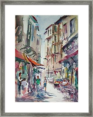 Framed Print featuring the painting Little Trip At Exotic Streets In Istanbul by Faruk Koksal