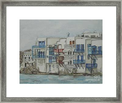 Little Venice Mykonos Greece Framed Print