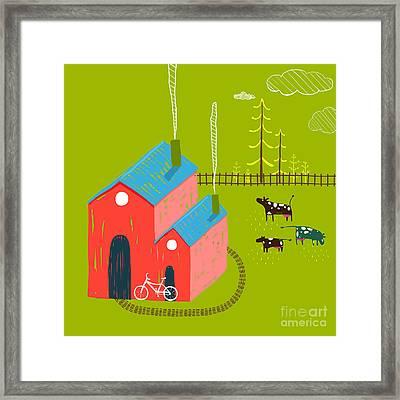 Little Village House Rural Landscape Framed Print