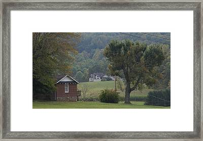Little Village In The Valley In Early Autumn Framed Print by Rosemarie E Seppala