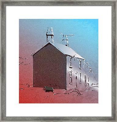 Welsh House In Snow Framed Print