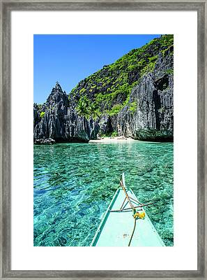 Little White Beach And Crystal Clear Framed Print by Michael Runkel