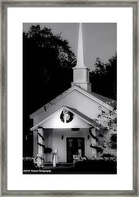 Little White Church Bw Framed Print