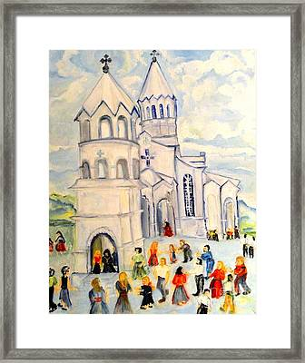 Little White Church Ghazanchetsots Cathedral Karabagh Armenia Framed Print