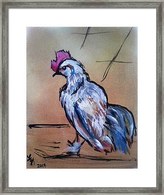 Little White Rooster Framed Print by Loretta Nash