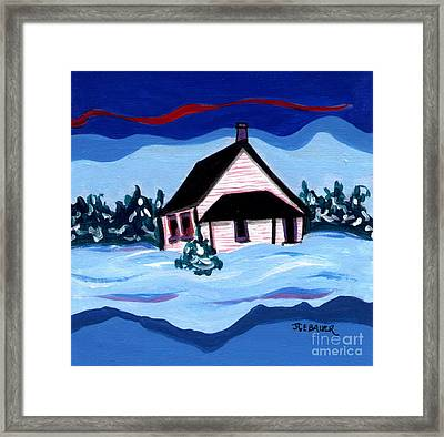 Framed Print featuring the painting Little White Schoolhouse by Joyce Gebauer