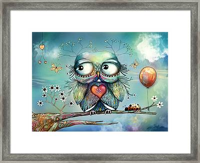 Little Wood Owl Framed Print by Karin Taylor