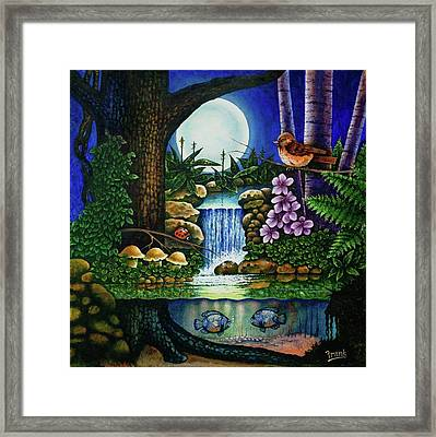 Framed Print featuring the painting Little World Chapter Full Moon by Michael Frank