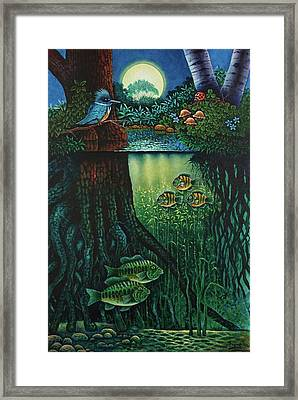Framed Print featuring the painting Little World Chapter Kingfisher by Michael Frank