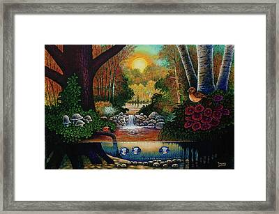 Framed Print featuring the painting Little World Chapter Sunset by Michael Frank