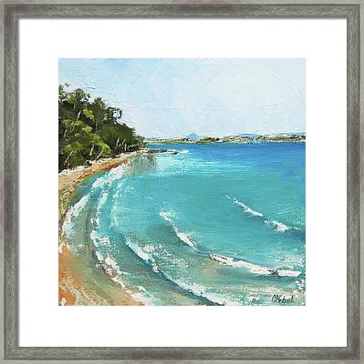 Framed Print featuring the painting Litttle Cove Beach Noosa Heads Queensland Australia by Chris Hobel